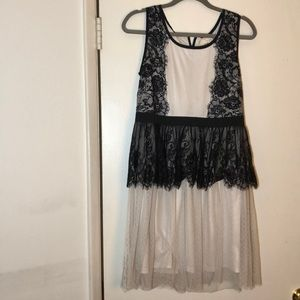 White Dress with Black Lace from A'reve (Modcloth)